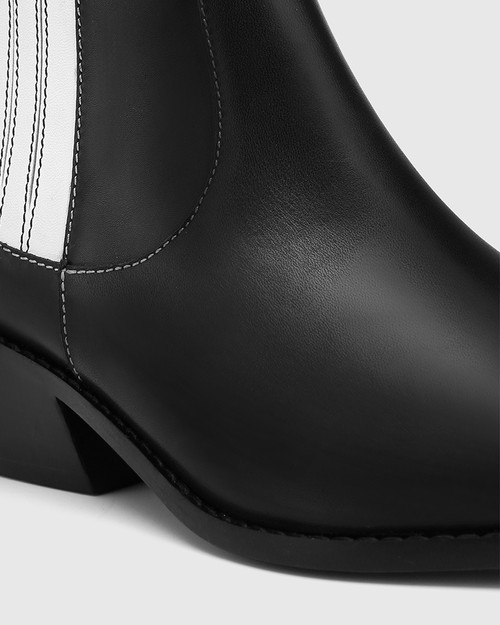 Moodie Black Leather Toe Cap Ankle Boot & Wittner & Wittner Shoes