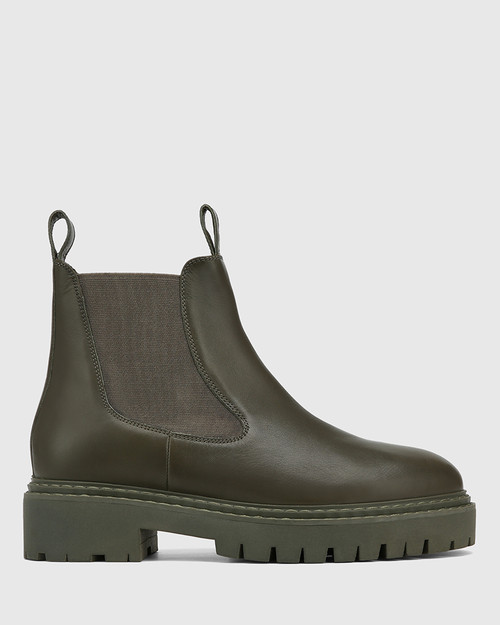 Madi Military Green Leather Combat Boot & Wittner & Wittner Shoes