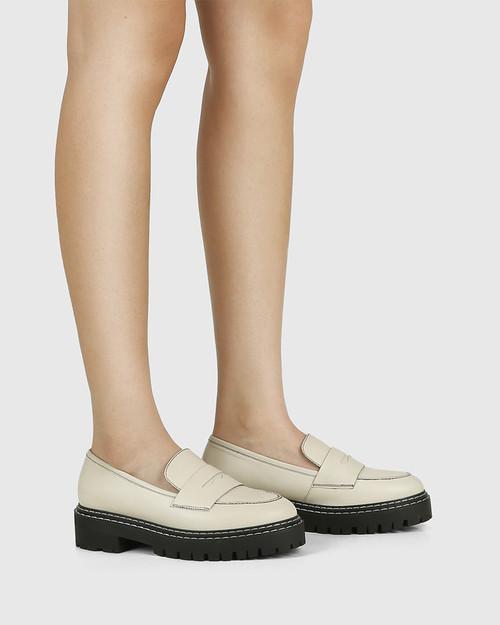Madyson Eggshell White Leather Utility Loafer & Wittner & Wittner Shoes