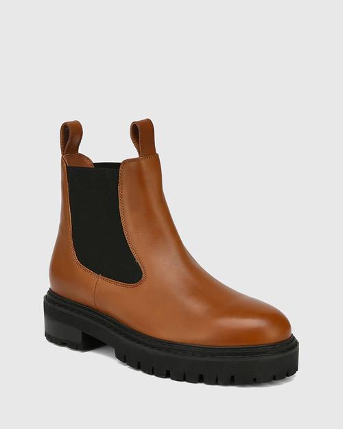 Madi Tan Leather Combat Boot