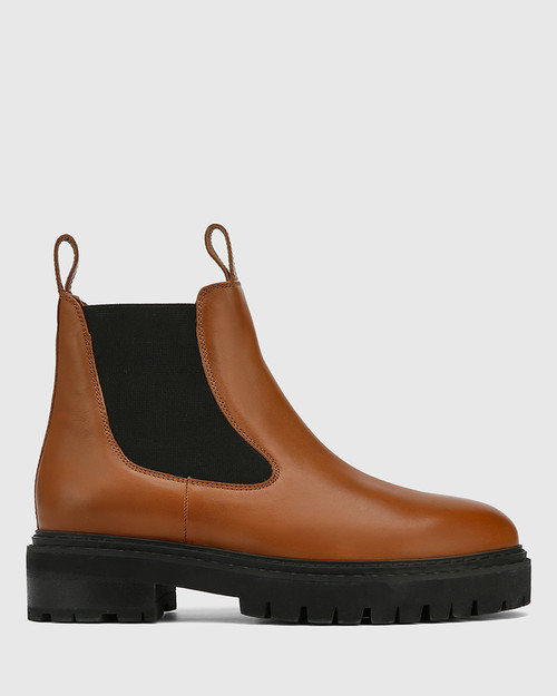 Madi Tan Leather Combat Boot & Wittner & Wittner Shoes