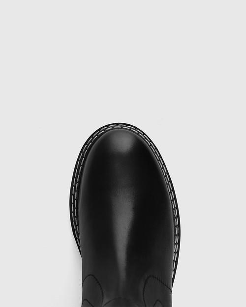 Mackay Black Leather Pull-on Combat Boot  & Wittner & Wittner Shoes