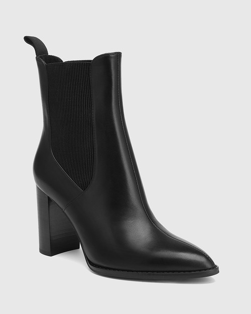 Holler Black Leather Block Heel Ankle Boot