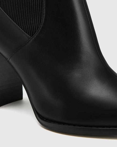 Holler Black Leather Block Heel Ankle Boot & Wittner & Wittner Shoes