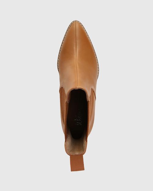 Holler Tan Leather Block Heel Ankle Boot & Wittner & Wittner Shoes