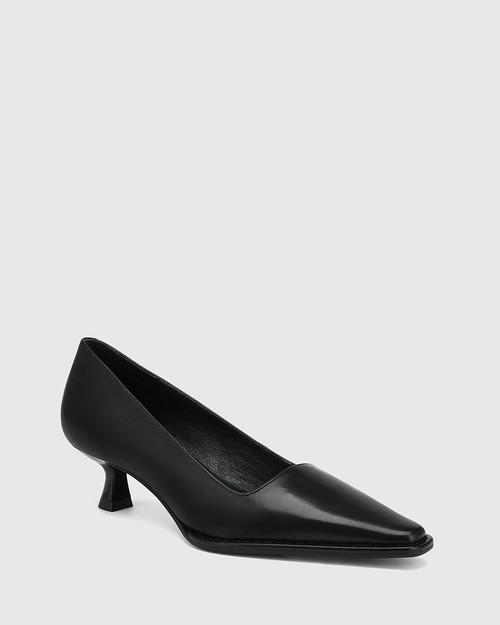 Grafton Black Leather Kitten Heel Pump