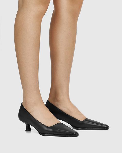 Grafton Black Leather Kitten Heel Pump & Wittner & Wittner Shoes