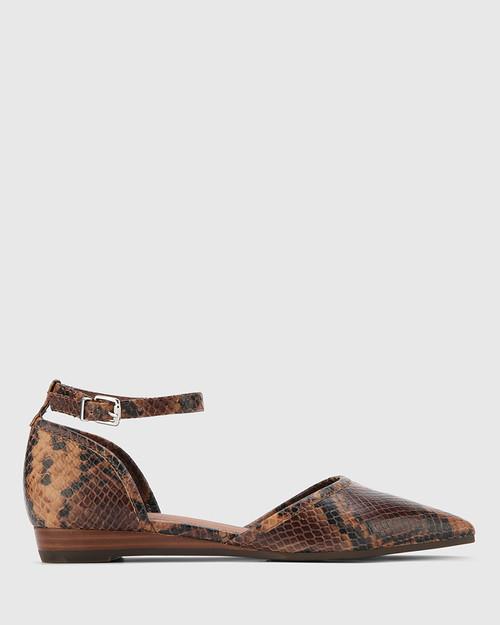 Ariel Brown Anaconda Print Leather Low Wedge Flat. & Wittner & Wittner Shoes