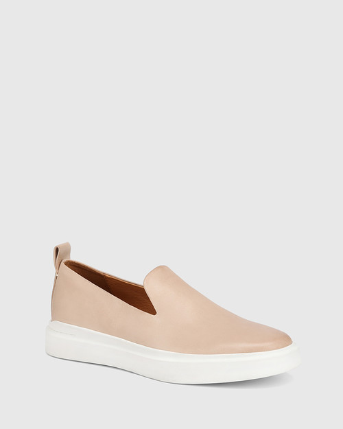 Sione Nude Leather Round Toe Loafer