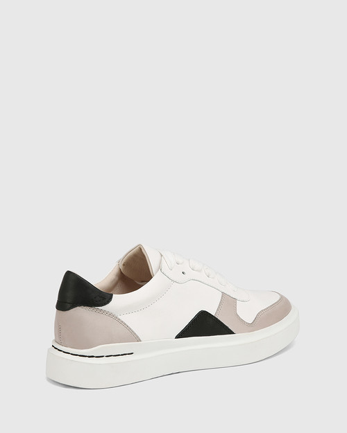 Slater White with Stone and Black Leather Sneaker & Wittner & Wittner Shoes
