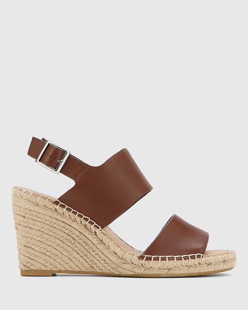 Vale Cedar Leather Open Toe Espadrille Wedge. & Wittner & Wittner Shoes
