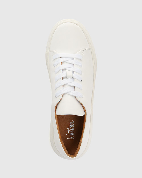 Saga White Leather Lace Up Sneaker & Wittner & Wittner Shoes
