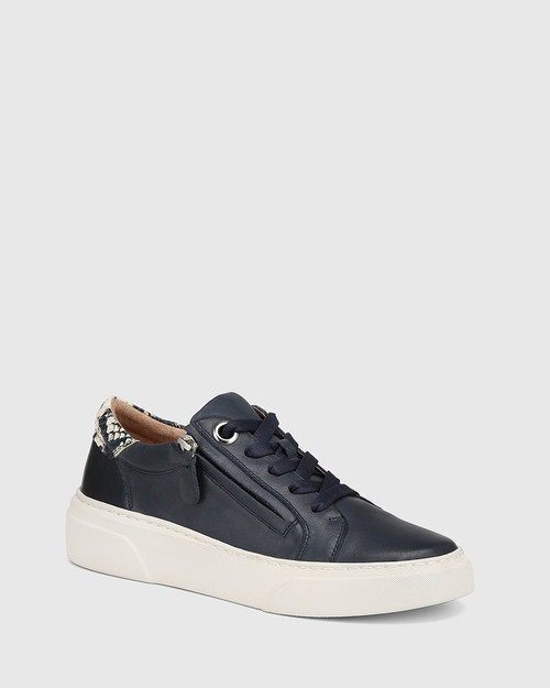 Soul Navy with Snake Print Leather Sneaker