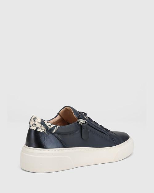 Soul Navy with Snake Print Leather Sneaker & Wittner & Wittner Shoes