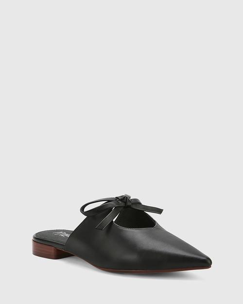 Magdalena Black Leather Pointed Toe Slip On Flat.