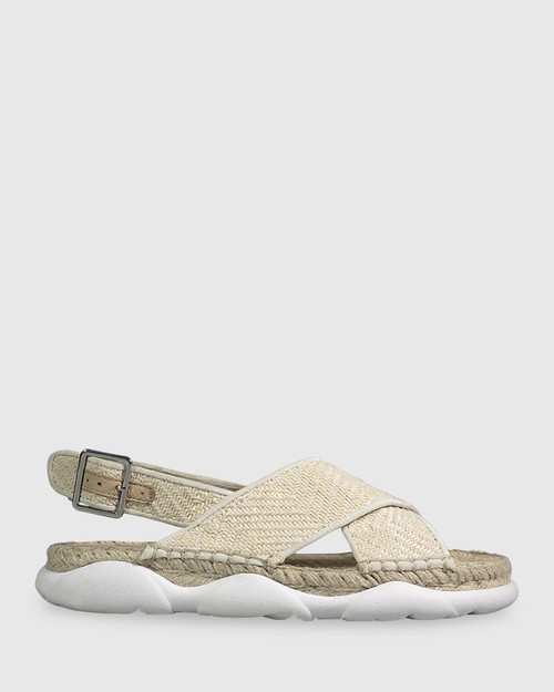 Eli Natural Straw Crossover Flat Sandal. & Wittner & Wittner Shoes