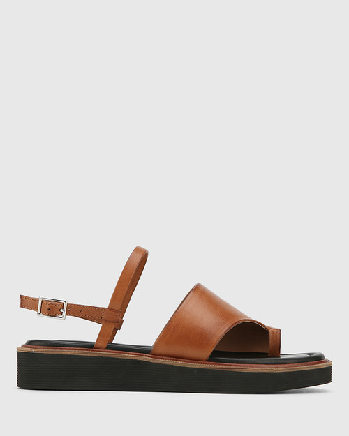 Tahoe Dark Cognac Leather Open Toe Flat Sandal. & Wittner & Wittner Shoes