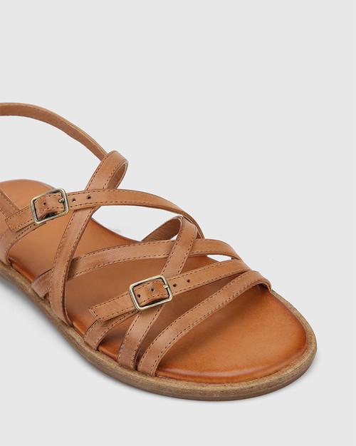 Cordelia Tan Leather Buckle Strap Flat Sandal. & Wittner & Wittner Shoes