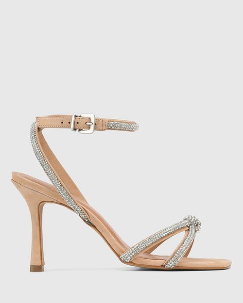 Venetia Flesh Nubuck Diamante Sandal