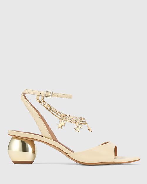 Vanda Cream Leather Round Heel Sandal & Wittner & Wittner Shoes