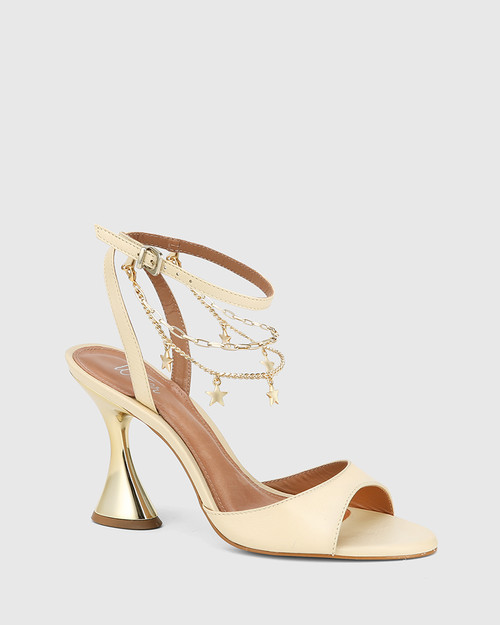 Veeva Cream Leather With Gold Flared Heel Sandal