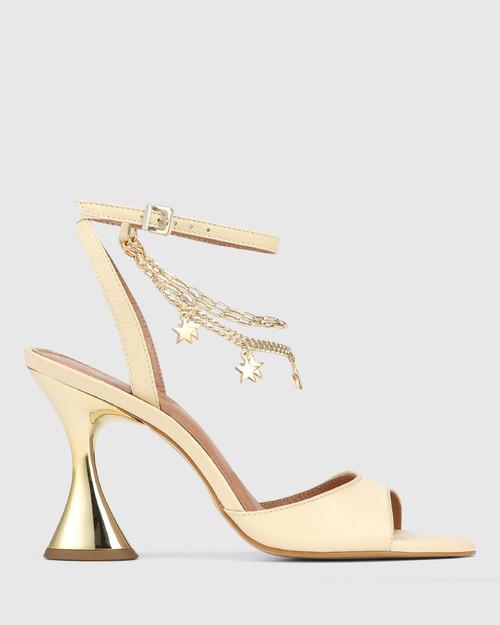 Veeva Cream Leather With Gold Flared Heel Sandal