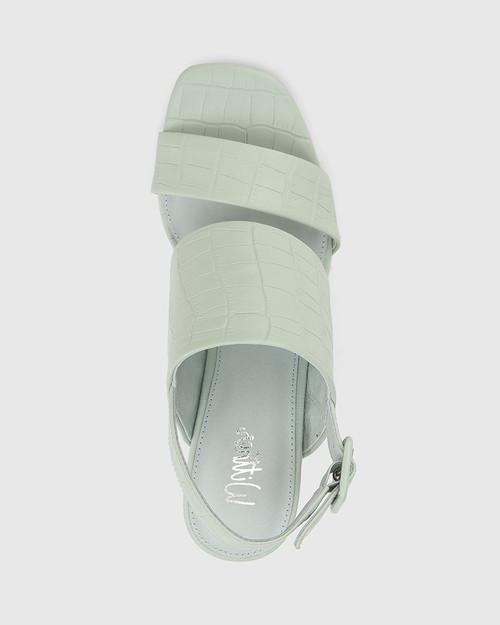 Carr Sage Croc-Embossed Leather Block Heel Sandal & Wittner & Wittner Shoes