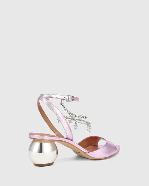Vanda Purple Metallic Leather Round Heel Sandal & Wittner & Wittner Shoes