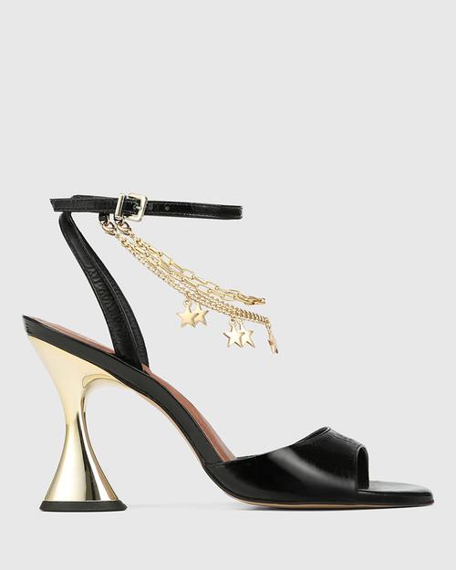 Veeva Black Crinkle Patent With Gold Flared Heel Sandal & Wittner & Wittner Shoes