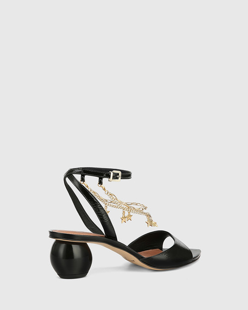 Vanda Black Crinkled Patent Round Heel Sandal & Wittner & Wittner Shoes