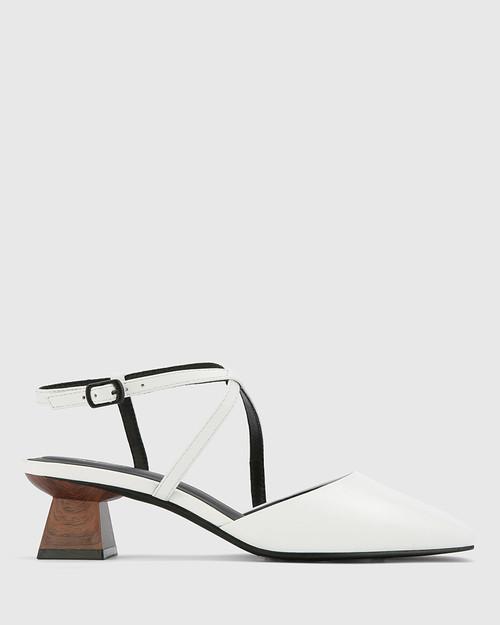 Granada White Leather Square Toe Sculptured Heel.