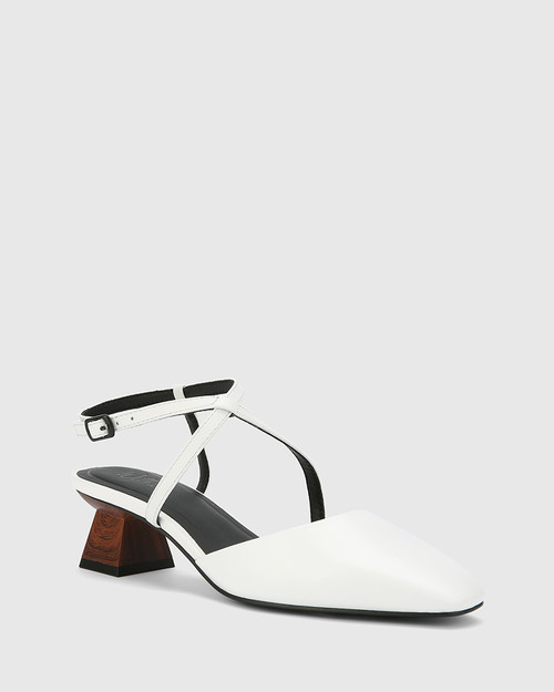Granada White Leather Square Toe Sculptured Heel