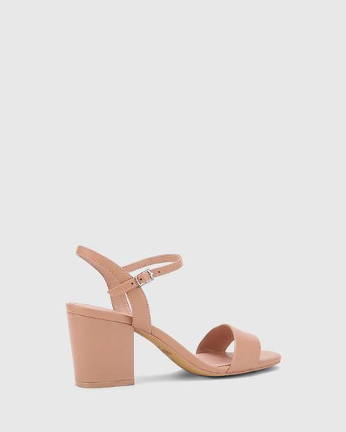 Collin Petal Pink Leather Block Heel Ankle Strap Sandal. & Wittner & Wittner Shoes