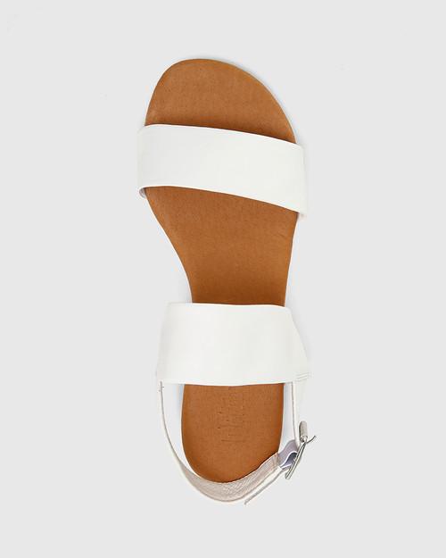 Sistine White Leather Flat Sandal. & Wittner & Wittner Shoes