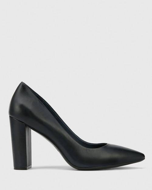 Hether Navy Leather Pointed Toe Block Heel. & Wittner & Wittner Shoes
