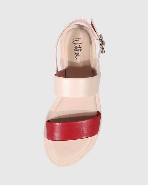 Elissa Red & Pink Leather Flat Sandal. & Wittner & Wittner Shoes