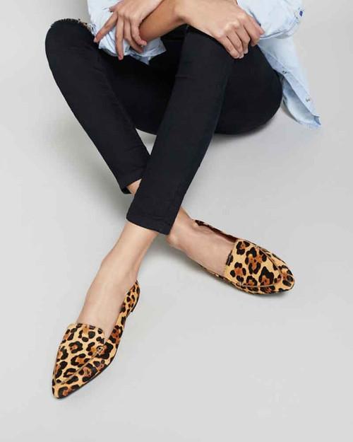 Packhamm Leopard Print Hair-on Leather Pointed Toe Loafer. & Wittner & Wittner Shoes