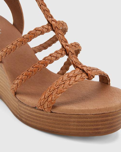 Vittoria Brandy Braided Leather Open Toe Wedge. & Wittner & Wittner Shoes