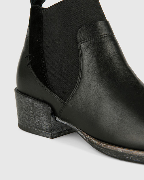 Memphis Black Leather and Suede Gusset Ankle Boot. & Wittner & Wittner Shoes
