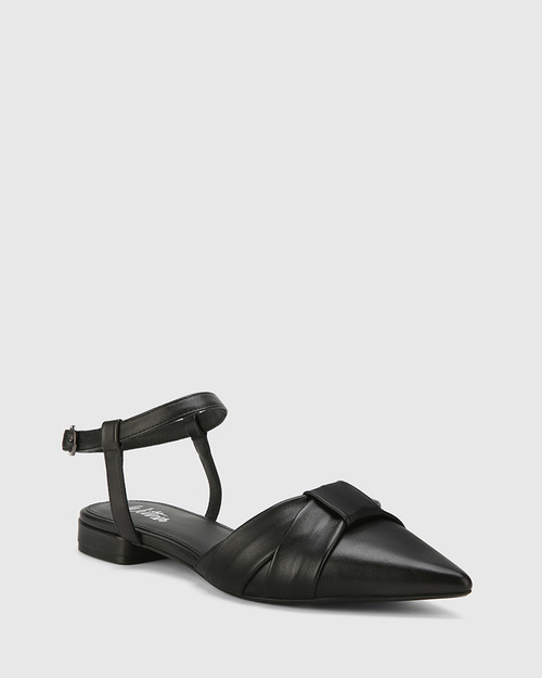Malvina Black Leather Pointed Toe Flat Sandal. & Wittner & Wittner Shoes