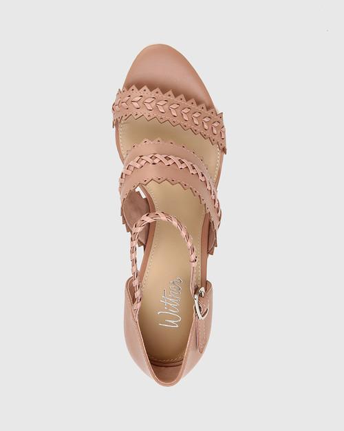 Roslyn Petal Pink Leather Open Toe Block Heel Sandal.