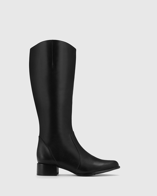 Bernia Narrow Fit Black Leather Knee High Boot.