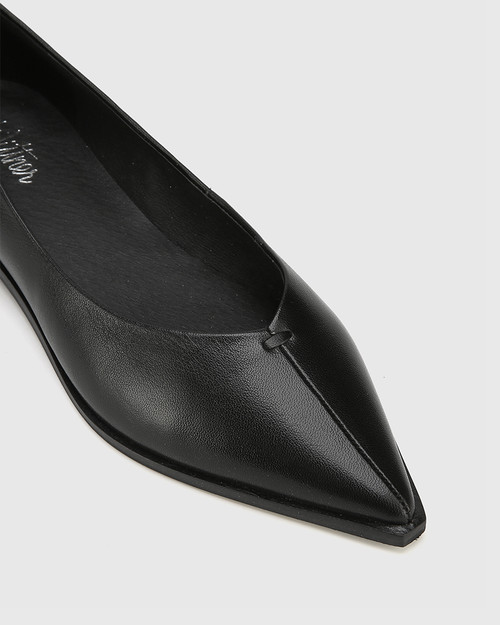Miley Black Leather Pointed Toe Flat. & Wittner & Wittner Shoes