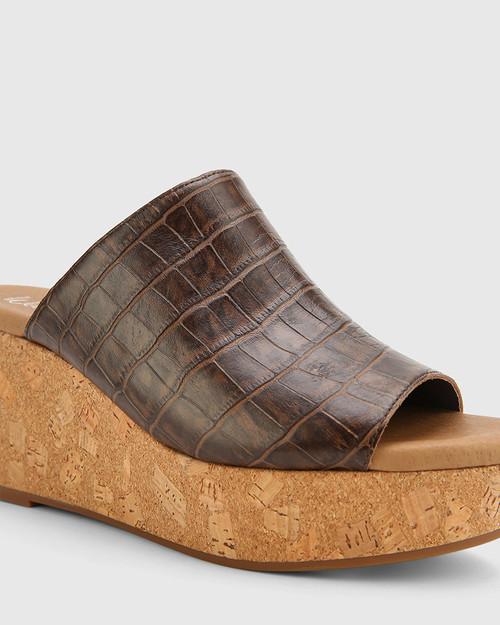 Hadleigh Chocolate Croc-Embossed Leather Wedge Heel & Wittner & Wittner Shoes
