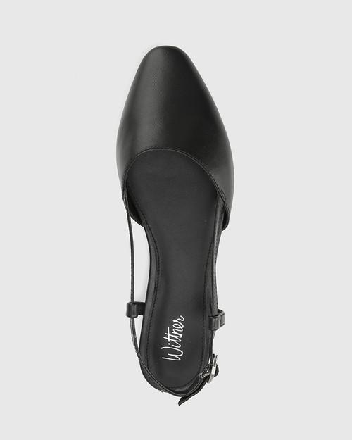 Edelpha Black Leather Flat Slingback Sandal. & Wittner & Wittner Shoes