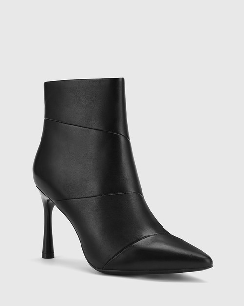 Havita Black Leather Pointed Toe Stiletto Ankle Boot.