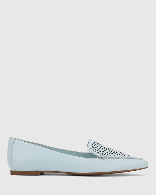Phillis Sky Blue Leather Laser Cut Pointed Toe Flat