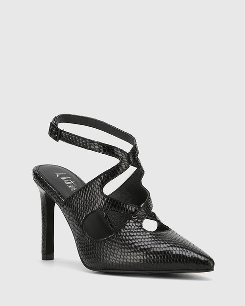 Hasoni Black Mini Snake Print Leather Pointed Toe Stiletto Heel.