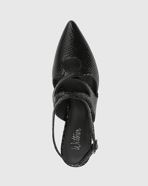 Hasoni Black Mini Snake Print Leather Pointed Toe Stiletto Heel. & Wittner & Wittner Shoes