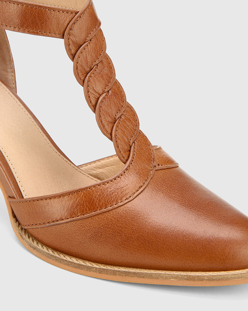 Nedda Dark Cognac Leather T-Bar Block Heel. & Wittner & Wittner Shoes